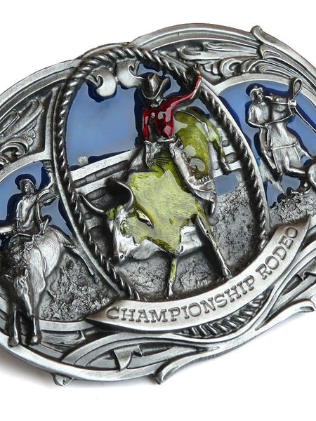 Championship Rodeo USA Made Oversized Belt Buckle J-180 close up