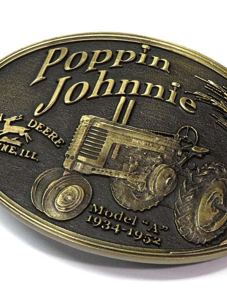 John Deere Model A Poppin Johnnie Heritage Attitude Belt Buckle A182JDC close up