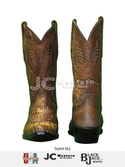 Black Jack 562-53 Mens Alligator Burnished Tan Cognac Boots