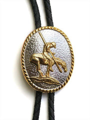 Gold End Of Trail Oval Concho Bolo Tie 22275