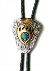 Gold Bear Paw Turquoise Stone Bolo Tie 22281