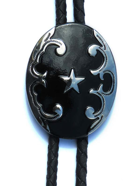 Black Oval with Star Concho Bolo Tie 22744