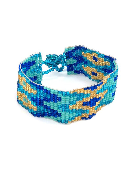 Southwest Aztec Style Beaded Western Bracelet BL001 Blue multi colored