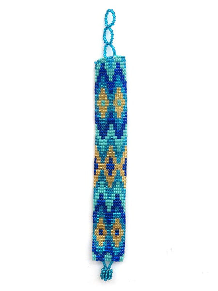 Southwest Aztec Style Beaded Western Bracelet BL001 Blue at JC Western