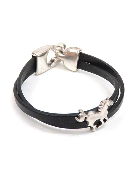 Southwest Leather Running Horse Western Bracelet BL003 Black JC Western