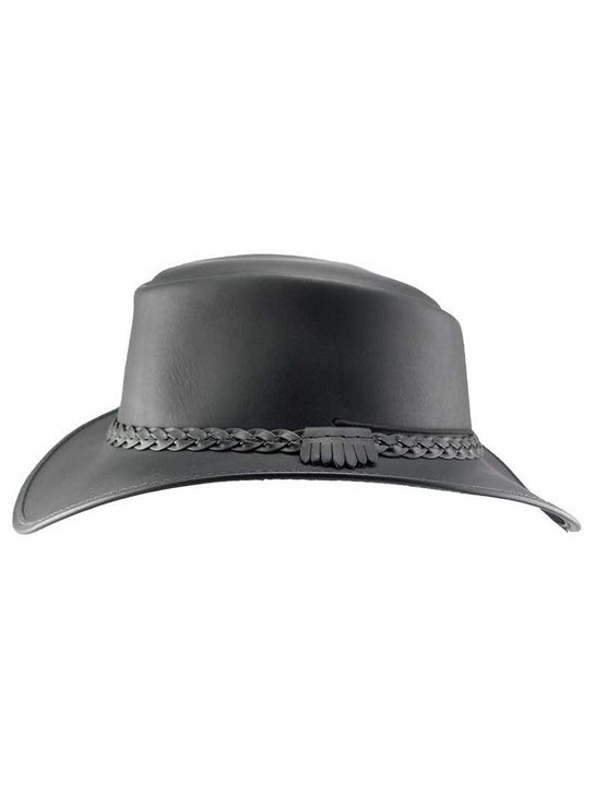 Head'n Home American Outback Bravo Black Leather Hat SIDE