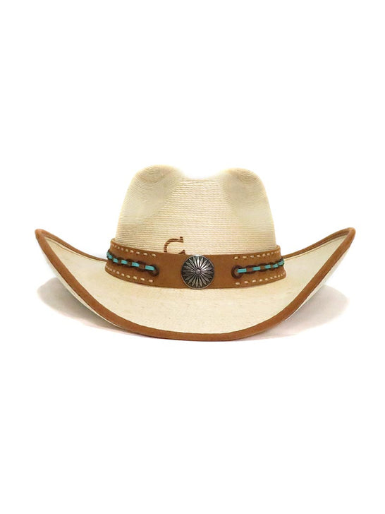 Charlie 1 Horse Cowgirl White Lie Palm Leaf Straw Hats CSWHLI-4034 View from Front