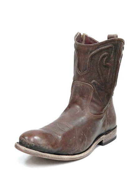 Corral Mens Brown Embroidery Drum Finish Round Toe Boot G1450