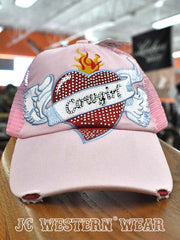 Ladie's M&F Light Pink Cowgirl heart wings cap J.C. Western® Wear - J.C. Western® Wear