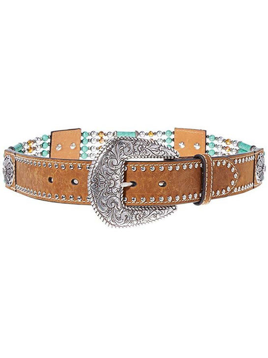 Nocona N3412744 Womens Beads & Floral Concho Western Belt Brown