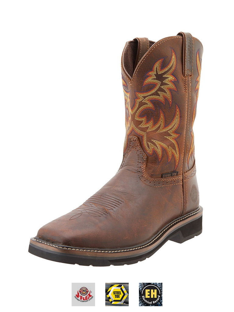 Justin Mens Stampede Steel Toe Work Boot WK4682 Rugged Tan Justin - J.C. Western® Wear