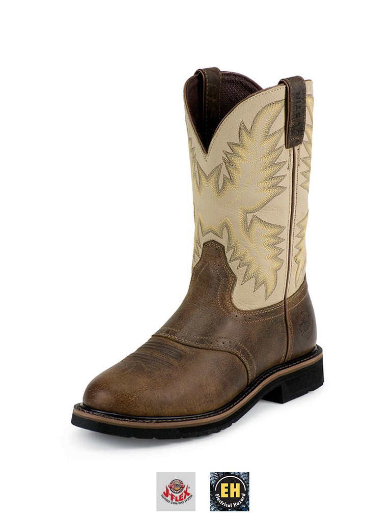 Justin WK4660 Mens Stampede Work Boot Sawdust