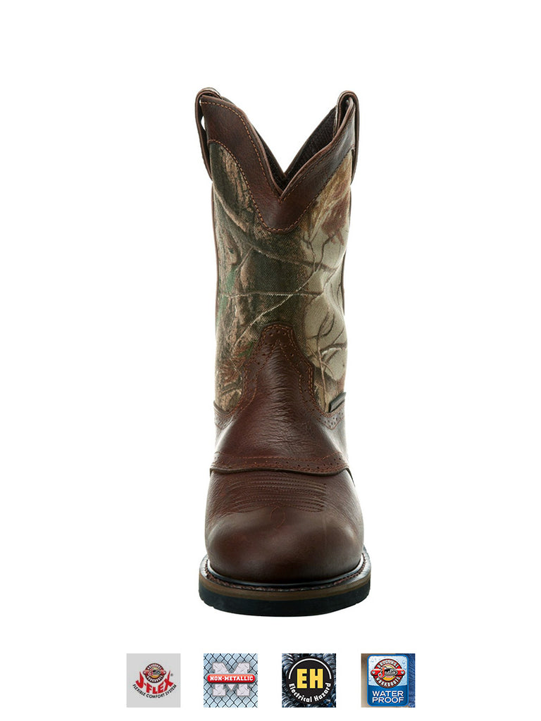 Justin WK4675 Mens Stampede Waterproof Camo Work Boot Round Toe