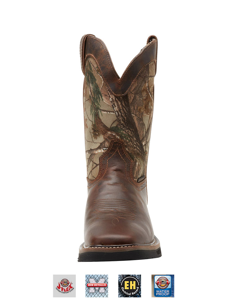 65801f76bee Justin Mens Stampede Waterproof Camo Work Boot WK4676 Square Toe