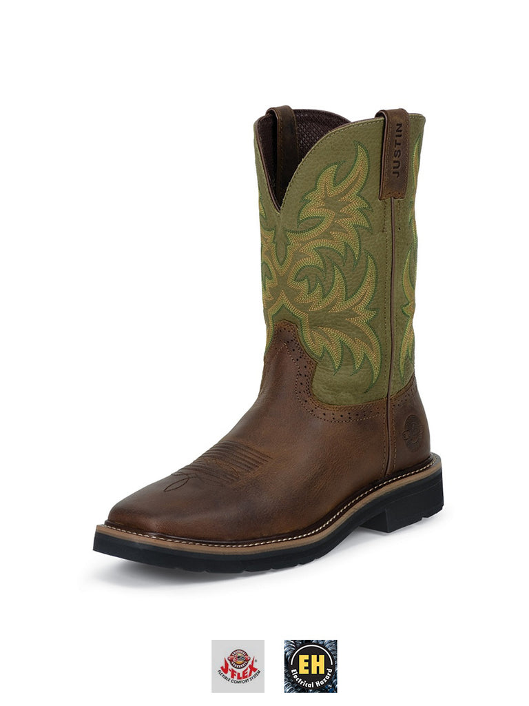 Justin WK4687 Mens Stampede Work Boot Hunter Green