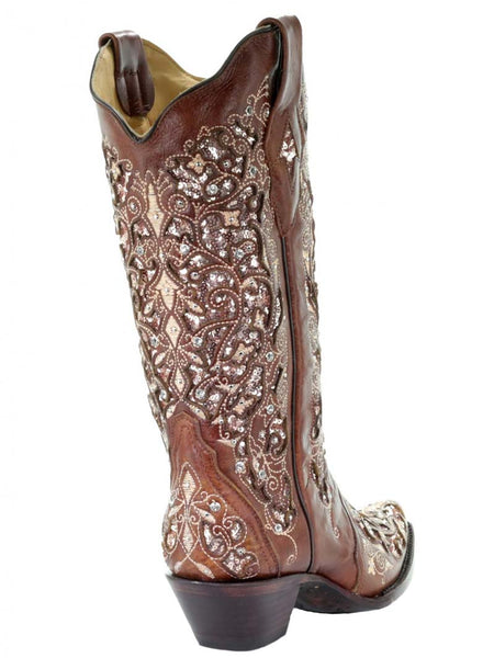 Corral Womens Brown Inlay And Floral Embroidery With Studs A3671