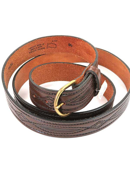 Looper Mens Embossed Stitch Workwear Large Size Belt 5154 Brown