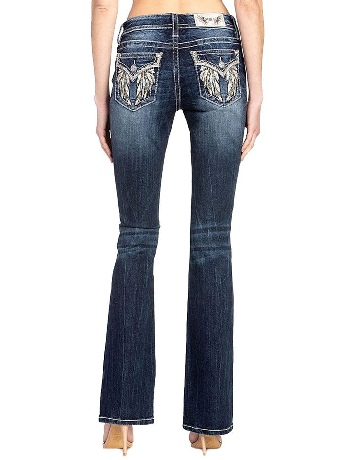 Miss Me M5082B99 Embellished Wings Chloe Boot-Cut Jean Dark Blue Back view