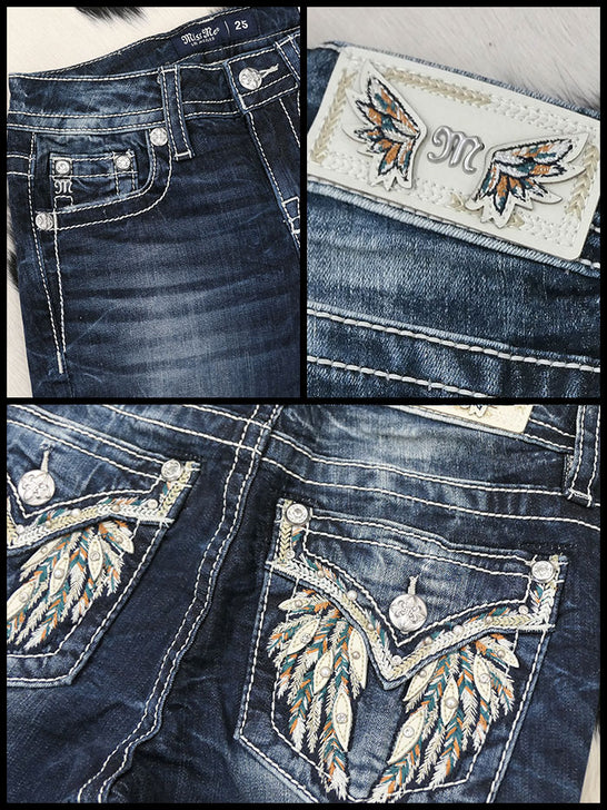 Miss Me M5082B99 Embellished Wings Chloe Boot-Cut Jean Dark Blue Close up pockets