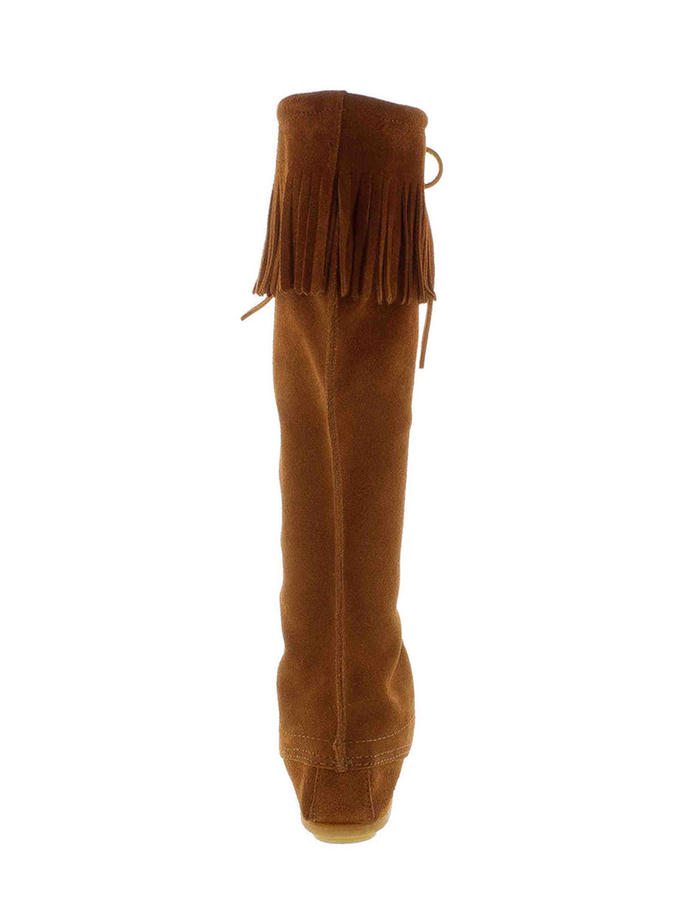 Minnetonka 1422 Women's Front Lace Knee Tall Boots Brown