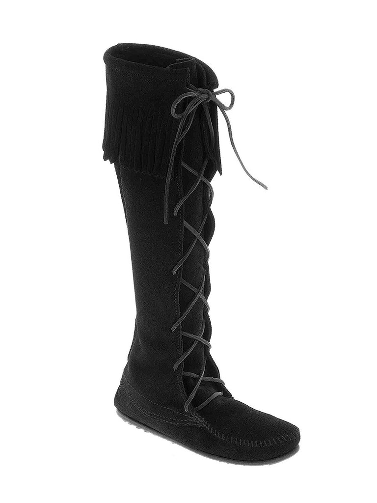Minnetonka 1429 Women's Front Lace Knee Hi Tall Boots Black