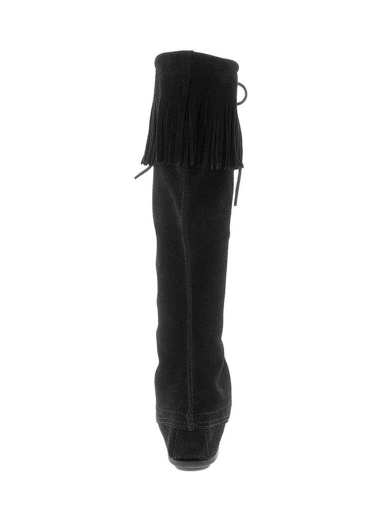 Women's Minnetonka Front Lace Knee Hi Tall Boots 1429 Black