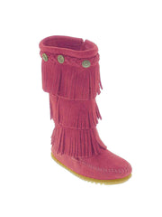 Minnetonka 2655 Kid's Suede 3-Layer Fringe Boot Pink