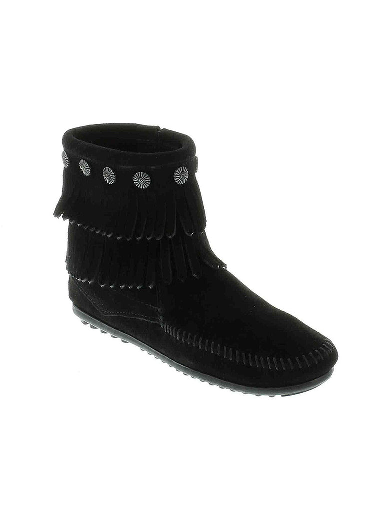 Minnetonka 699 Women's Double Fringe Side Zip Boot Black