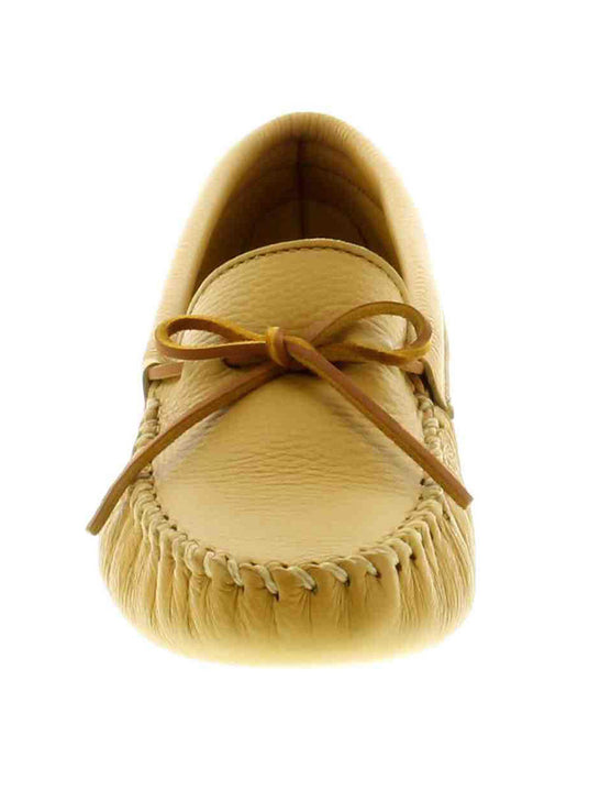 Minnetonka Mens Double Natural Tan Deerskin Softsole 816 Front View