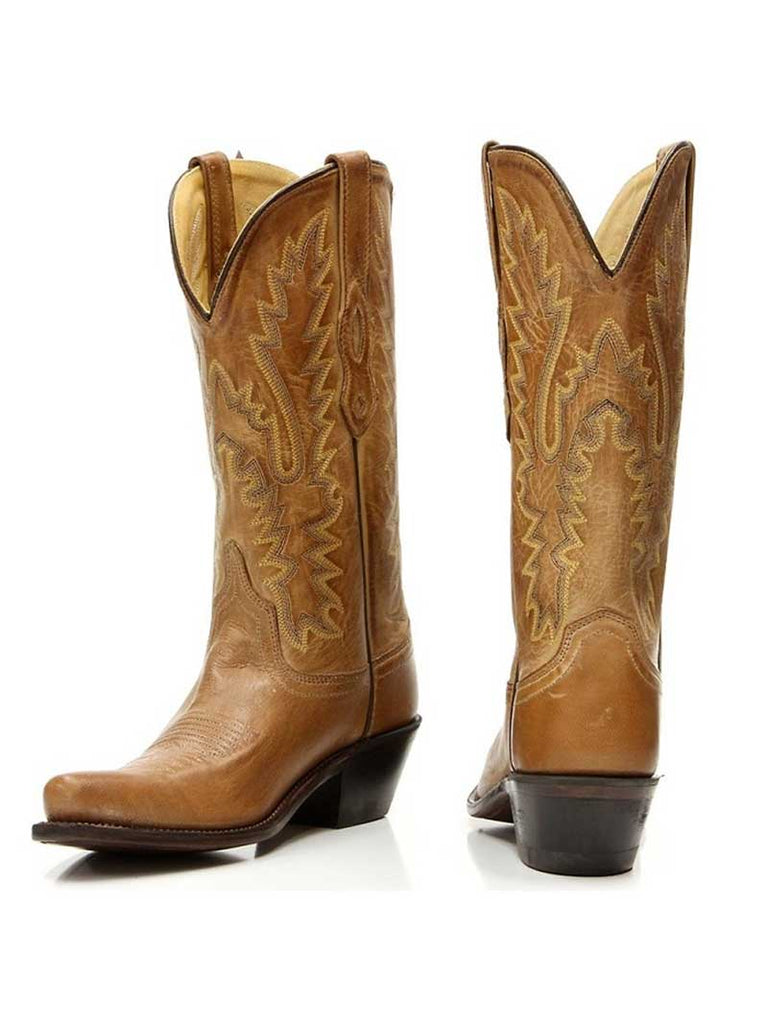"Old West LF1529 Womens 12"" Fashion Snip Toe Cowgirl Boots Tan"