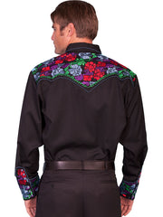 Scully P-634C Mens Poly Blend Bright Floral Stitch Western Shirt Black