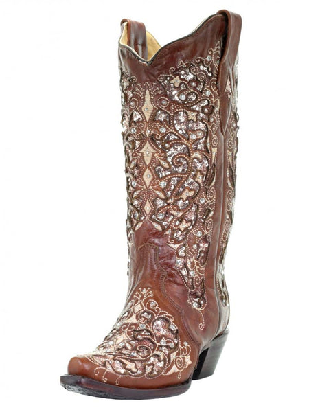 Corral Womens Brown Inlay Floral Embroidery Studs Cowgirl Boot A3671