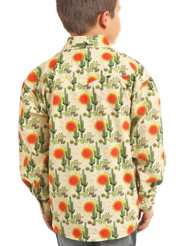 Panhandle Kids Cactus Print Mineral Long Sleeve Snap Shirt B8S2330 Front View Panhandle Shirts