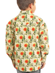 Panhandle Kids Cactus Print Mineral Long Sleeve Snap Shirt B8S2330 back view