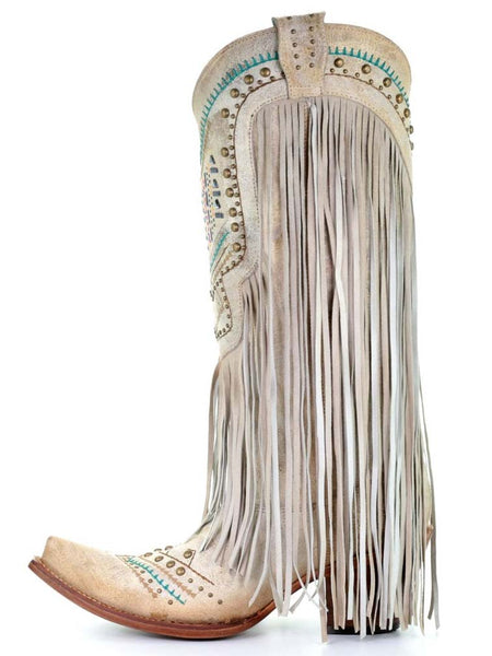 Corral Ladies Bone Swarovski Pattern And Fringes C3424
