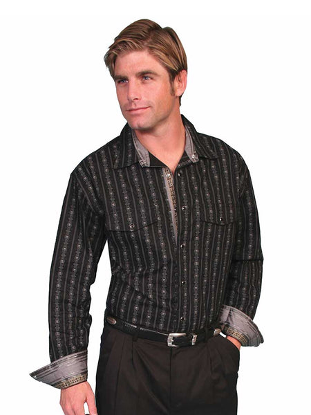 13252e3a51 Men s Scully Skull Stripe Black Western Shirts PS-093-BLK