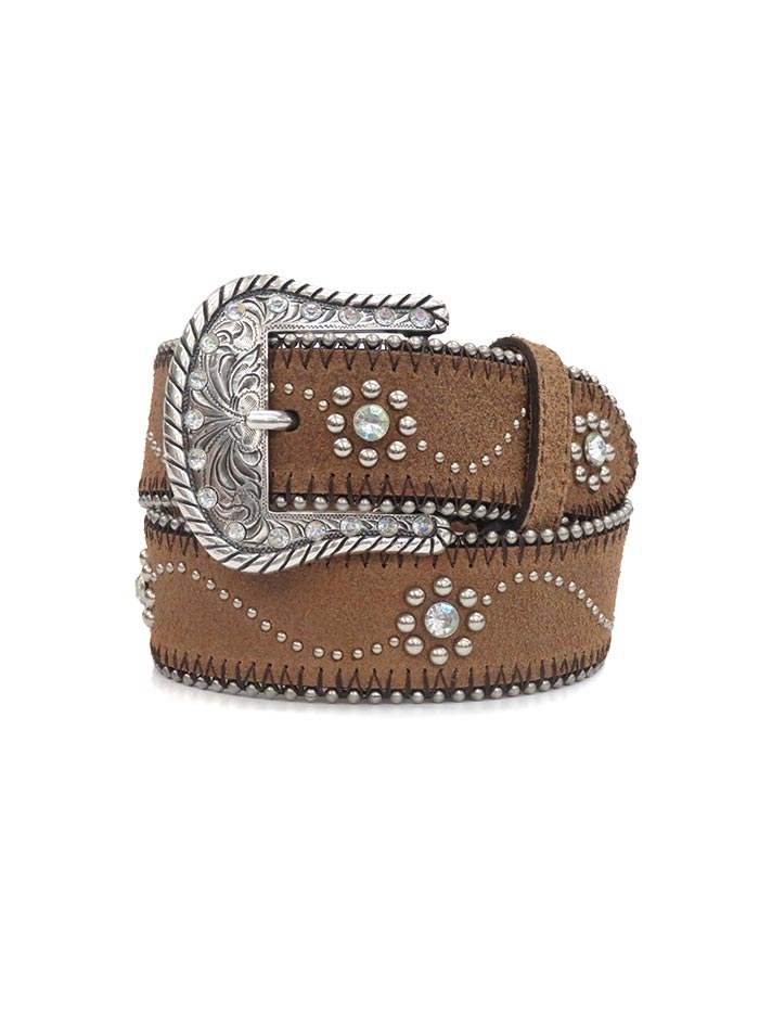 Tony Lama Little Daisy Rhinestone and Studs Leather Belt C60145 Front