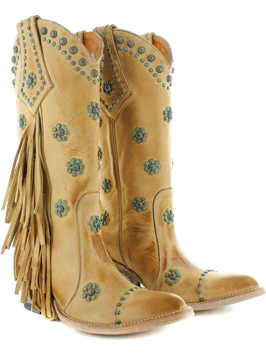 Old Gringo L3188-1 Womens Savannah Floral Stud boots Tan