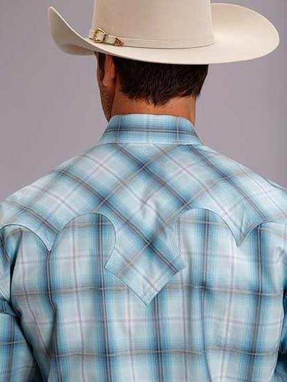 1557ed96434 Men s Stetson Light Blue Plaid Modern Fit Western Shirts 11-001-0478-0269