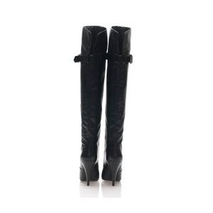 1200 LEATHER OTK BOOTS, BLACK