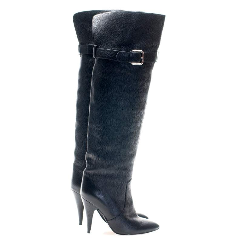 1201 PEBBLE LEATHER OTK BOOTS, BLACK