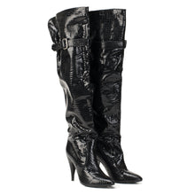 1203 ALLIGATOR EMBOSS PATENT LEATHER OTK BOOTS, BLACK