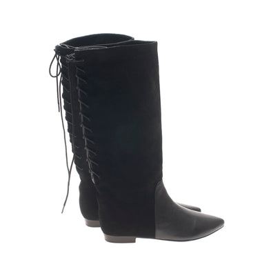 1401 SUEDE AND LEATHER LACE-UP BACK BOOTS, BLACK