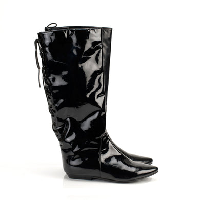1402 PATENT LEATHER LACE-UP BACK BOOTS, BLACK