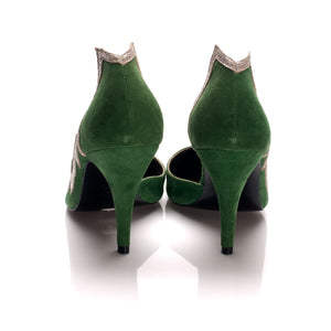 3001 SUEDE WING PUMPS, GREEN