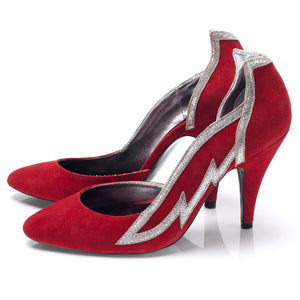 3001 SUEDE WING PUMPS, RED