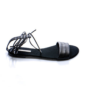 3011 LEATHER FLAT SANDALS, BLACK