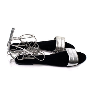 3011 LEATHER FLAT SANDALS, SILVER