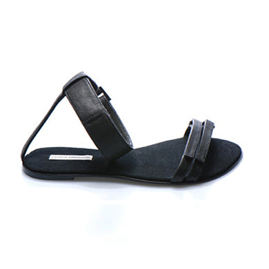 3012 LEATHER FLAT SANDALS, BLACK