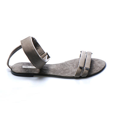 3012 LEATHER FLAT SANDALS, ANCIENT MOCHA